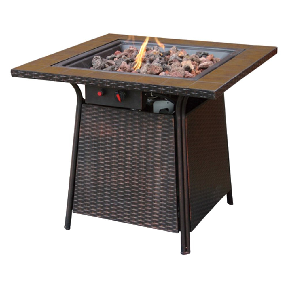 Endless Summer Outdoor Fire Table LP Gas with Tile Mantel