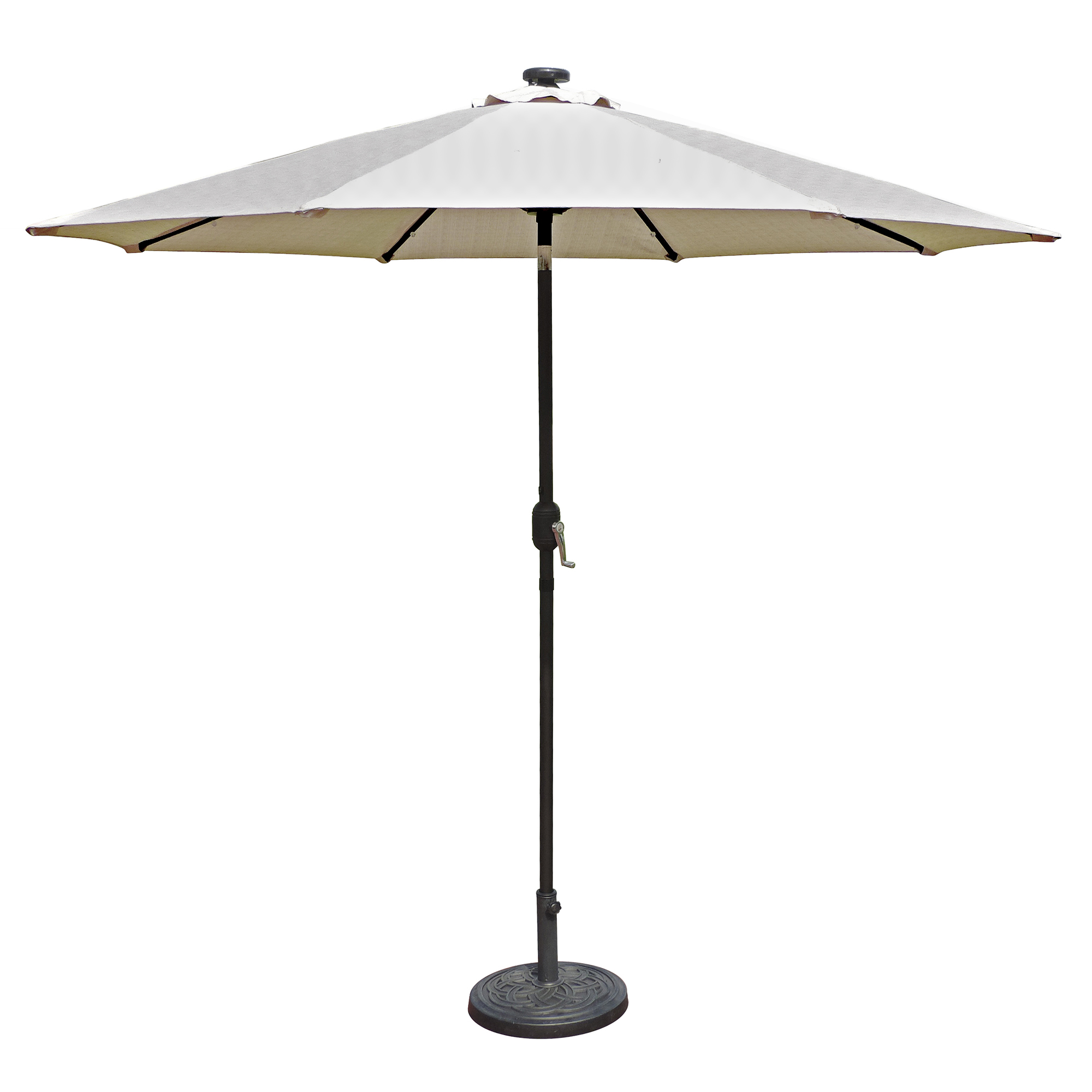 Island Umbrella Mirage Fiesta 9 Ft Market Solar Led Auto Tilt Patio