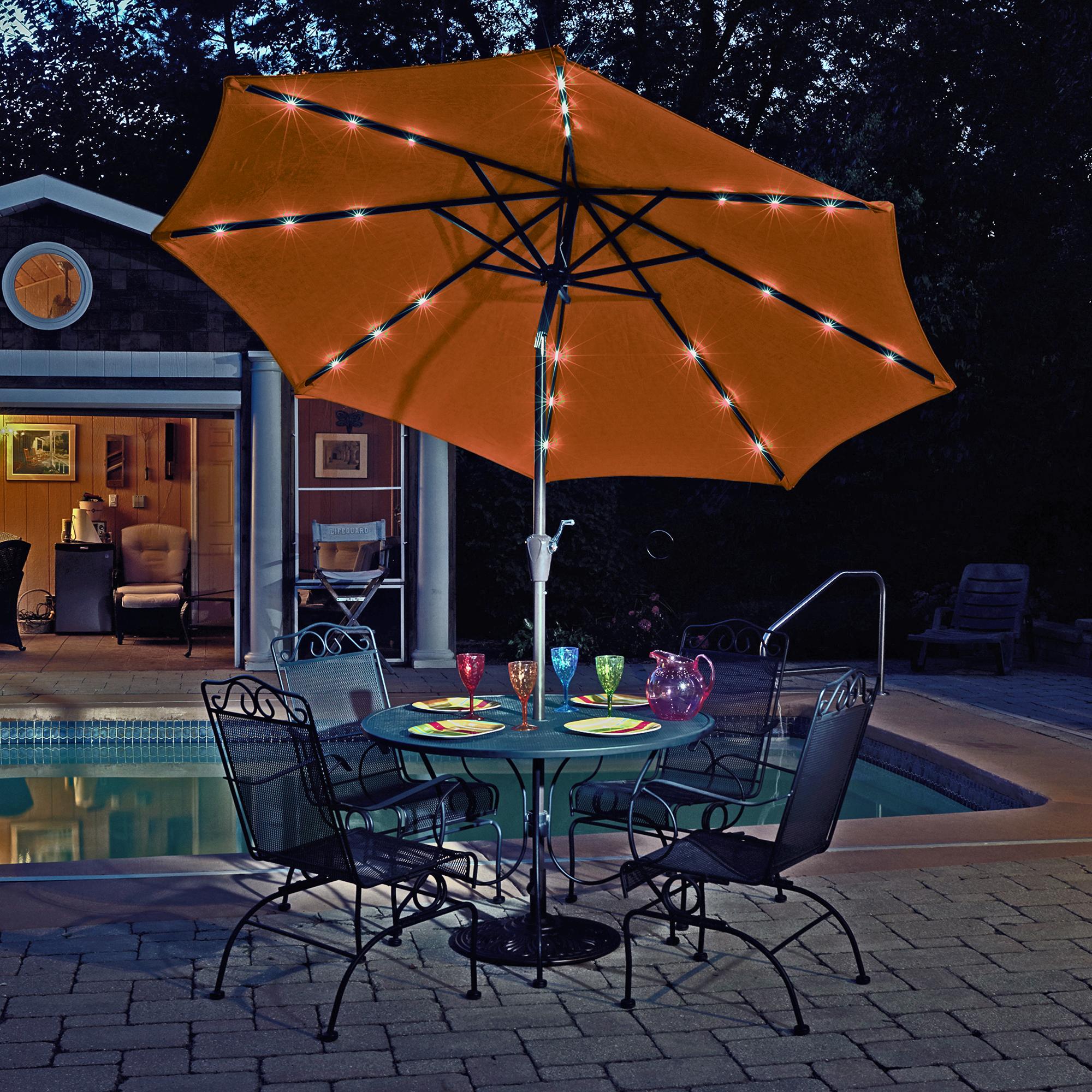 Genial Island Umbrella Mirage Fiesta 9 Ft Market Solar LED Auto Tilt Patio Umbrella  In Terra Cotta Olefin