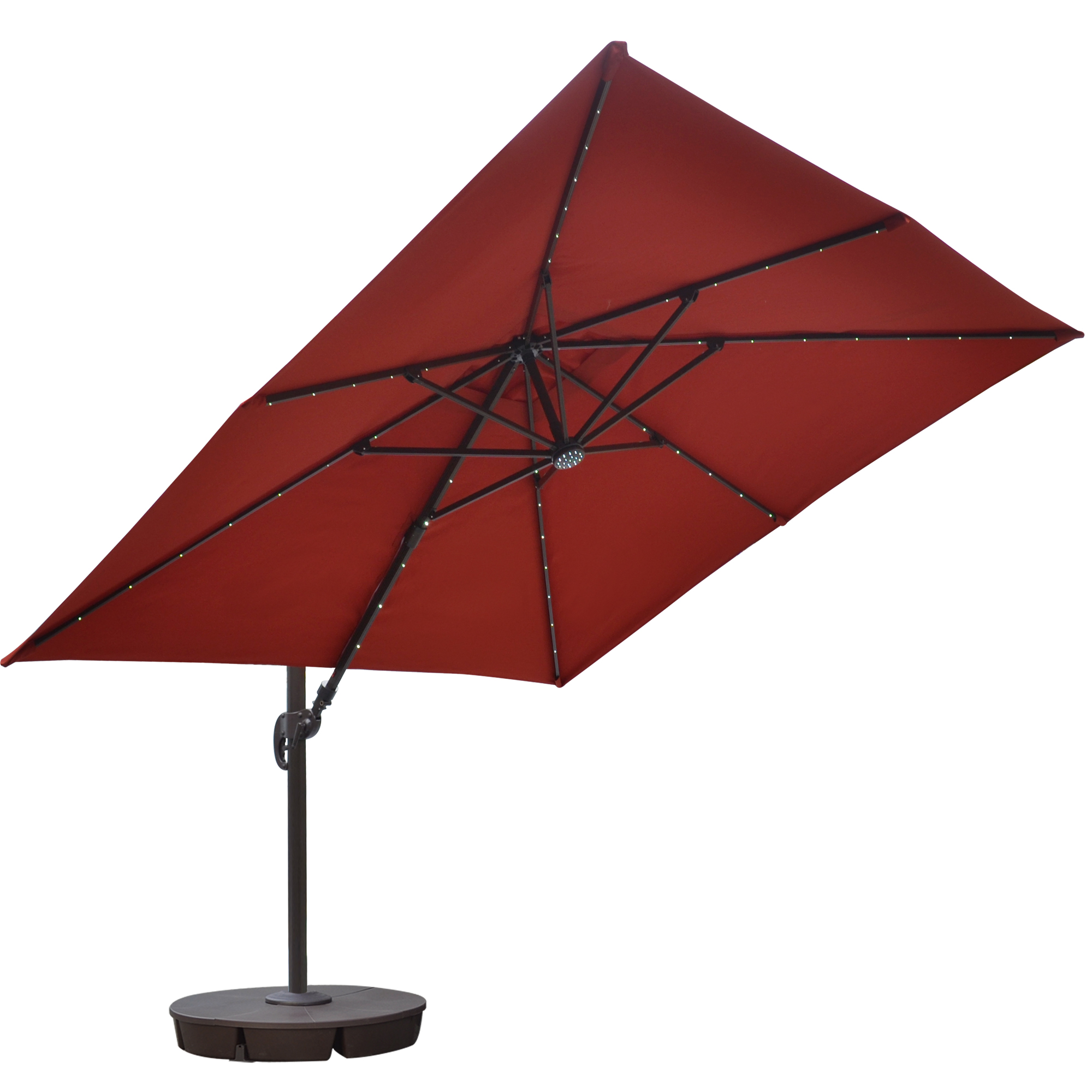 Island Umbrella Santorini II Fiesta 10 Ft Square Cantilever Solar Patio  Umbrella In Terra Cotta Sunbrella Acrylic