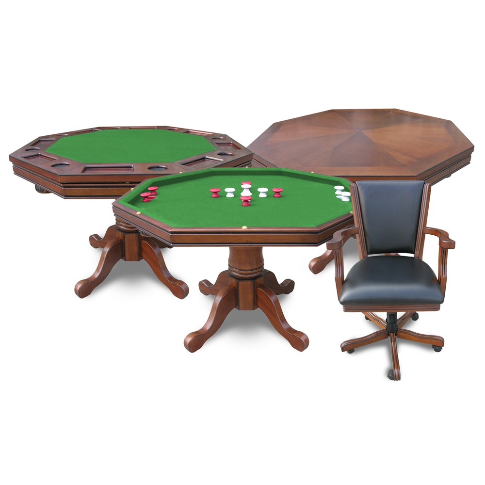Carmelli Kingston Walnut 3 in 1 Poker Table Bumper Pool