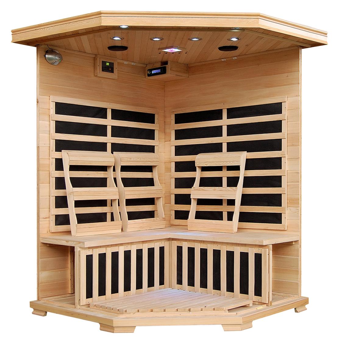 blue wave heatwave hudson bay sauna 3 person corner cedar. Black Bedroom Furniture Sets. Home Design Ideas
