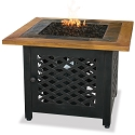 Endless Summer Outdoor Fire Table LP Gas with Slate and Faux Wood Mantel