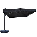 Island Umbrella Santorini II 10-ft Square Cantilever Umbrella w/ Valance in Black Sunbrella Acrylic