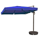 Island Umbrella Santorini II 10-ft Square Cantilever Umbrella w/ Valance in Blue Sunbrella Acrylic