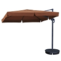 Island Umbrella Santorini II 10-ft Square Cantilever Umbrella w/ Valance in Terra Cotta Sunbrella Acrylic