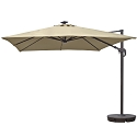 Island Umbrella Santorini II Fiesta 10-ft Square Cantilever Solar Patio Umbrella in Beige Sunbrella Acrylic