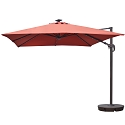 Island Umbrella Santorini II Fiesta 10-ft Square Cantilever Solar Patio Umbrella in Terra Cotta Sunbrella Acrylic