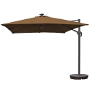 Island Umbrella Santorini II Fiesta 10-ft Square Cantilever Solar Patio Umbrella in Stone Sunbrella Acrylic