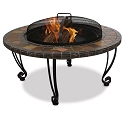 Endless Summer Outdoor Firebowl Slate and Marble with Copper Accents