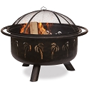 Endless Summer Outdoor Firebowl Oil Rubbed Bronze with Palm Tree Design