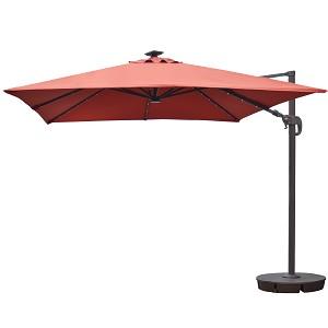 Island Umbrella Santorini Ii Fiesta 10 Ft Square Cantilever Solar Patio In Terra Cotta Sunbrella Acrylic