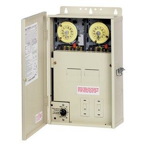 Intermatic PF1200 Series Multi-Circuit Freeze Protection Controls (Two Time Switches for Pools with Cleaners) with 4/8 Breaker Base & Heater Protection
