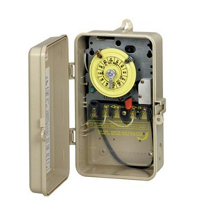 Intermatic T100 Series Time Switch in Beige Plastic Case with Heater Protection & SPST Swtich