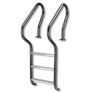 Inter-Fab 3-Step Camelback Ladder with Sure-Step Tread White Powder Coat