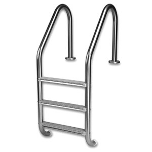 Inter-Fab 5-Step Standard Ladder Earth Powder Coat with White High Impact Plastic Tread