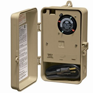 Intermatic P1200 Series Two-Circuit Outdoor Timer with 120VAC Plug, GFCI & Photo Control