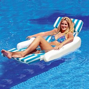 Sunchaser Padded Luxury Floating Swimming Pool Lounge Chair Swimline 10010SL