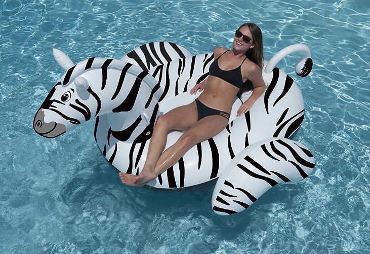 Swimline Zebra Ride-On Inflatable Pool Float