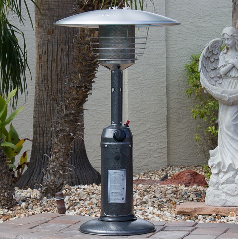 Az Patio Heaters Table Top Patio Heater In Hammered Silver