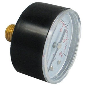 "Pressure Gauge Back Mount 0-60 PSI 1/4"" Connection"