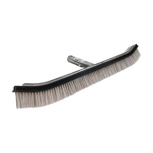 "Puri Tech Premium Curved 18"" Pool Brush with Mixed Nylon & Stainless Steel Bristles"