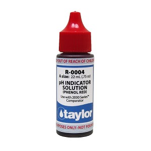 Taylor Technologies pH Indicator Solution, for 2000 Series, Phenol Red - .75 oz, Dropper Bottle